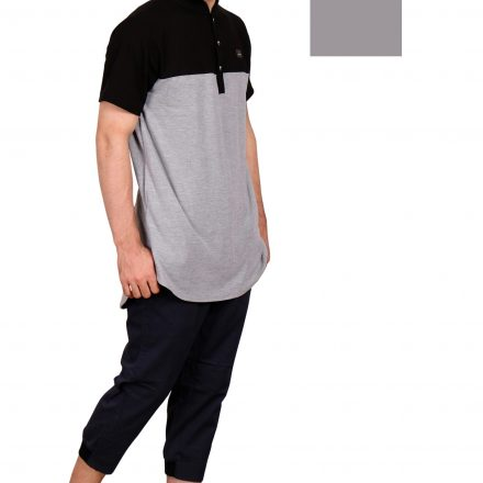 KURTA SHIRT BLACK GREY